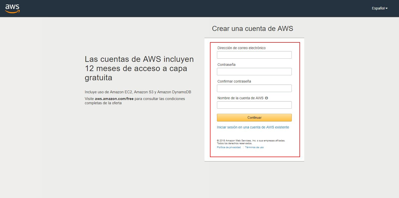 crear cuenta aws gratis 1