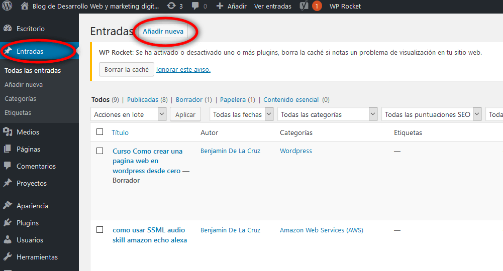 nuevo post wordpress